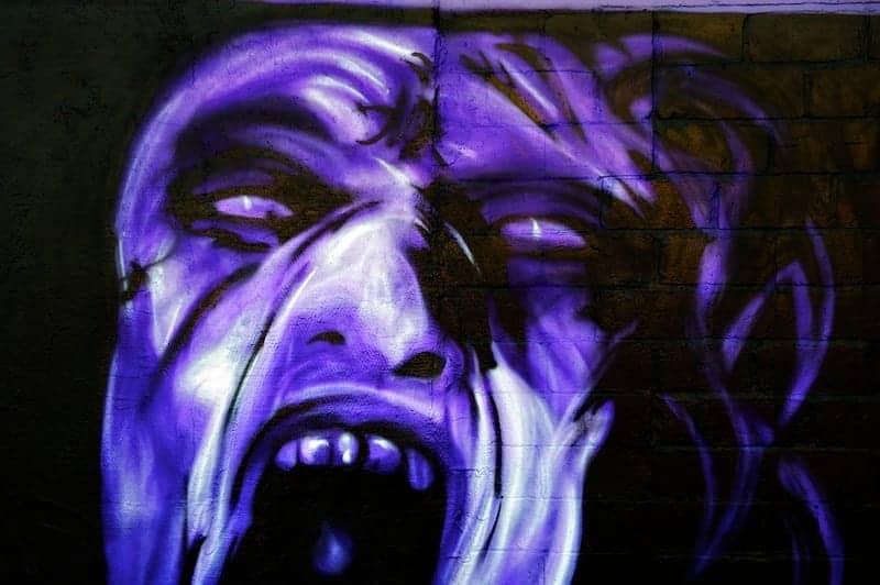 Graffiti art of screaming face