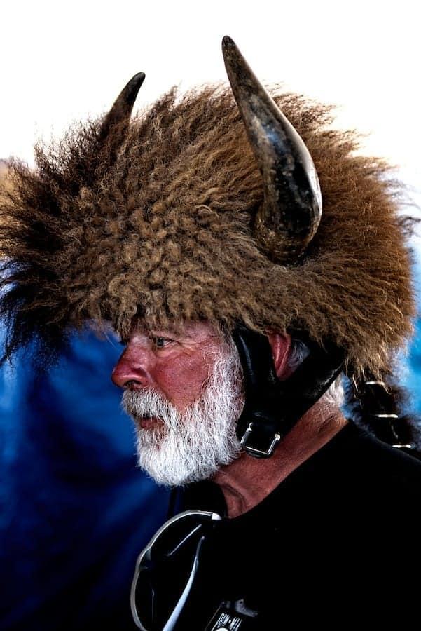 Man at Bike Week wearing furry helmet with horns