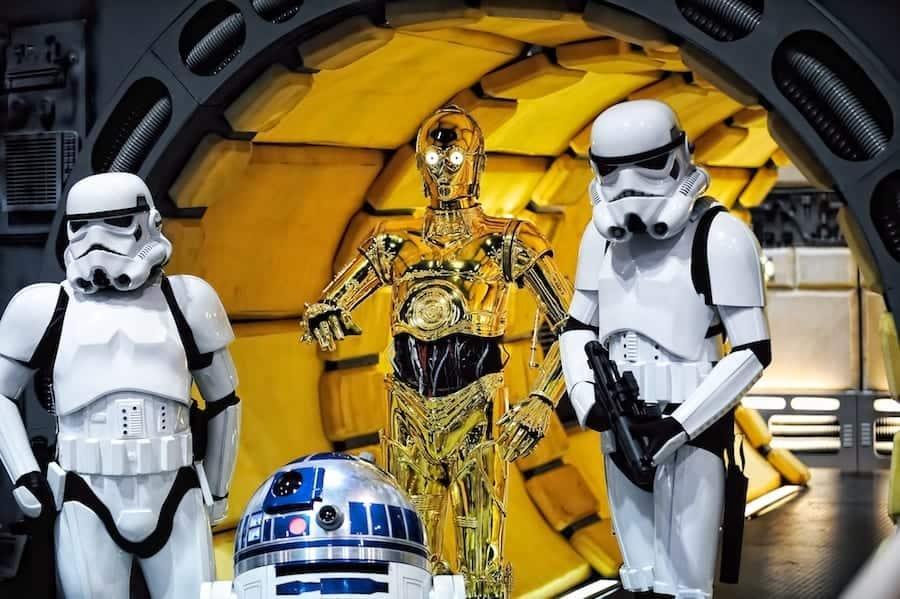C-3PO, R2-D2, Storm Troopers inside Millennium Falcon